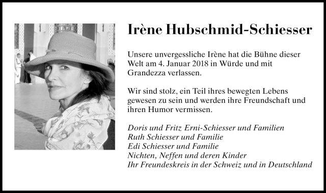 Anzeige_Irène Hubschmid-Schiesser
